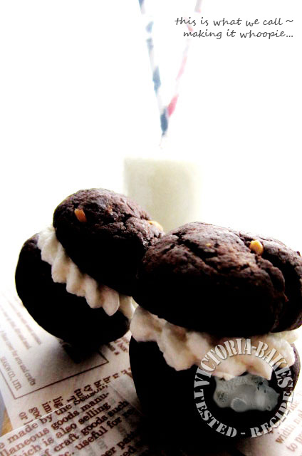 Chocolate Peanut Butter Whoopie  Pie with Marshmallow Fluff filling