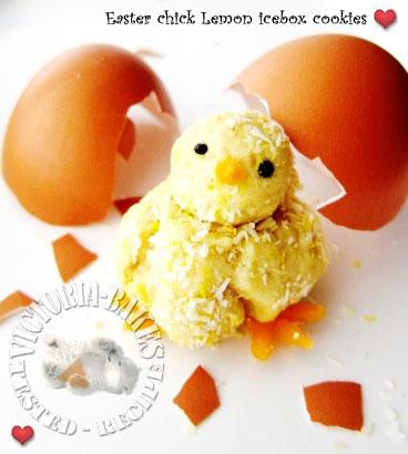 Easter chick lemon icebox cookies