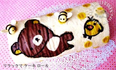 rilakkuma roll cake with banana chocolate cream