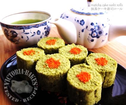 It's tea time! ~ matcha cake sushi rolls