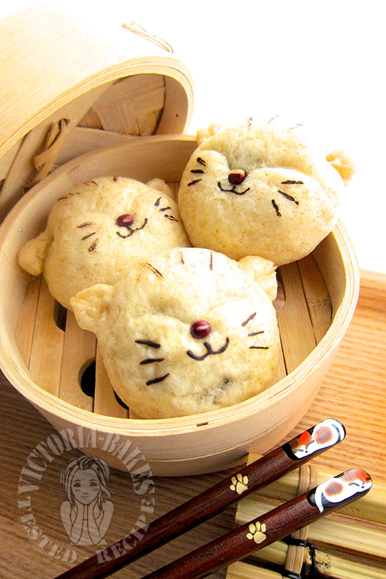 """fat cat steamed wholemeal red bean bun (with shaping instructions) 肥猫全麦豆沙包 (^・o・^)ノ"""""""
