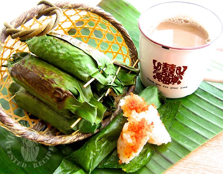 pulut panggang (glutinous rice rolls) (#´ー´)旦 烤香辣糯米饭