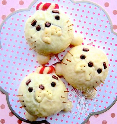 baby seal chocolate cream bun (with shaping instructions) 海豹BB巧克力酱餐包 (附整形图解):: (•ᴥ• )́`́'́`́'⻍