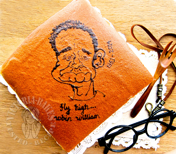 robin williams ~ soy milk rice flour ogura cake (with drawing instructions) 罗宾·威廉斯 ~ 彩绘豆浆米粉相思蛋糕 (附彩绘图解)