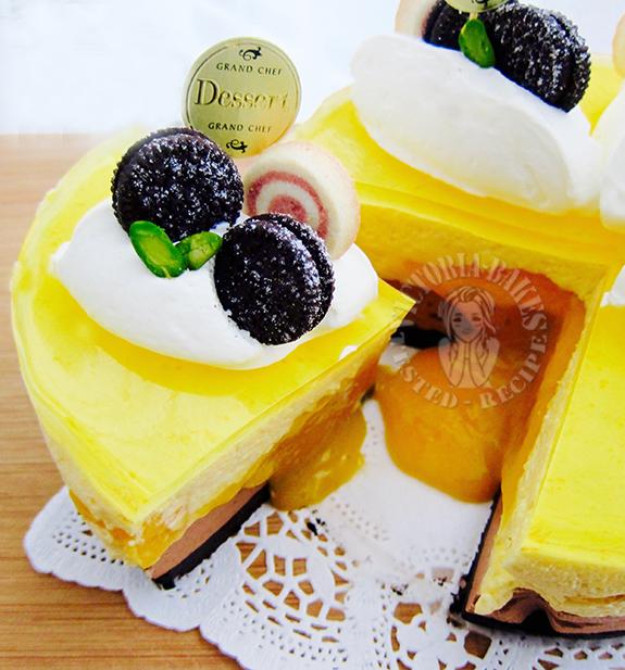 chocolate mango lava mousse cake 巧克力芒果流心慕斯蛋糕