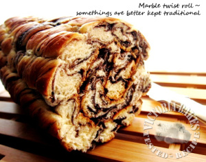 a rendition of the chocolate marble bread ~ chocolate marble twist roll