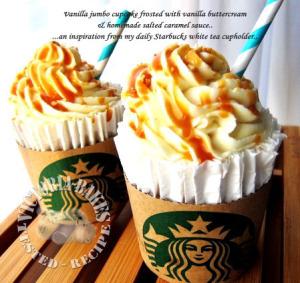 Vanilla Jumbo Cupcakes with Vanilla Buttercream frosting and salted caramel sauce