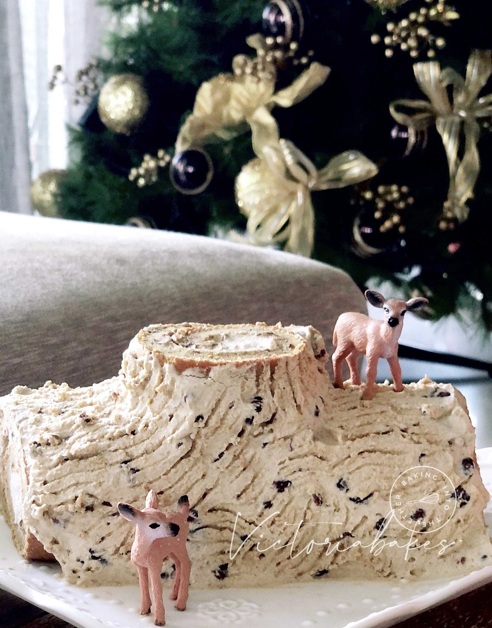 red bean chiffon Christmas log cake ~ highly recommended 红豆戚风树桐蛋糕~强推