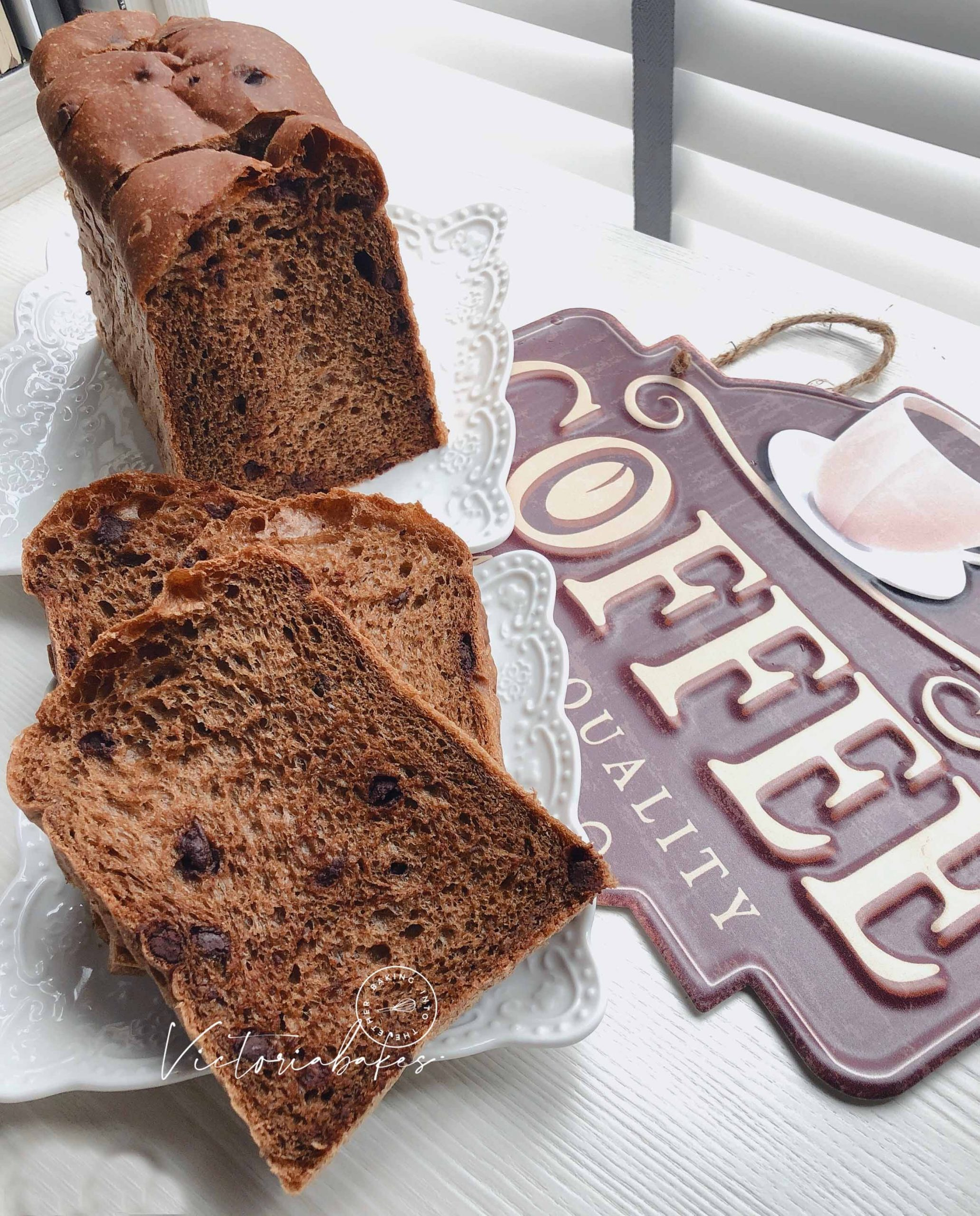 super soft mocha chocolate chip toast (premixing dough method) ~ highly recommended 软趴趴摩卡巧克力吐司(泡面法) ~ 强推