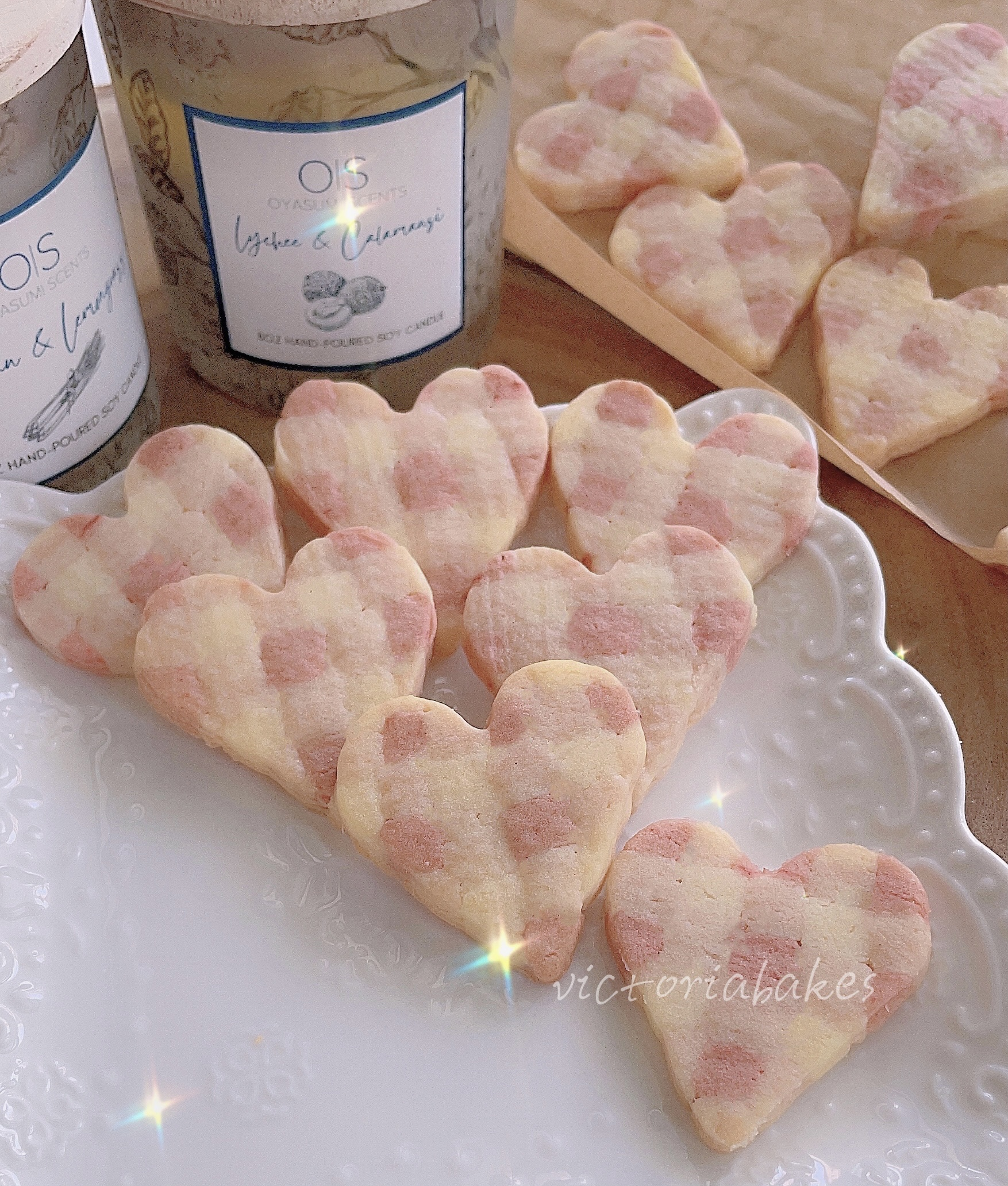 checkered heart shaped cookies