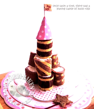 leaning castle of swiss rolls