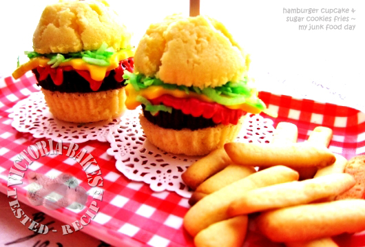 hamburger cupcake & sugar cookies fries…