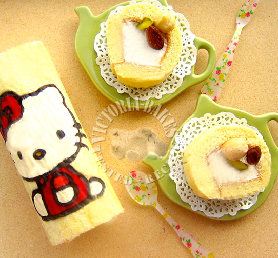 hello kitty swiss roll ~ how to make painted swiss roll