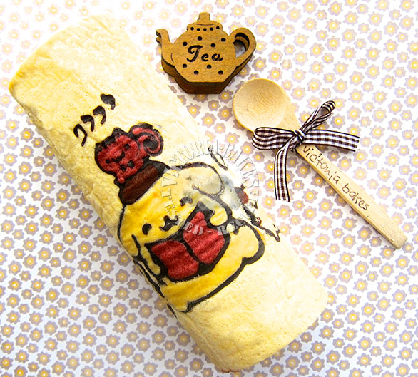 pom pom purin swiss roll with chocolate chestnut filling ∪・ω・∪