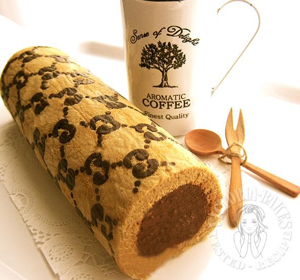 coffee swiss roll with mocha buttercream