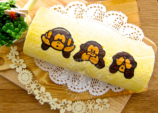 three wise monkeys swiss roll (with painting instructions) 三匹の猿蛋糕卷(附彩绘图解)༼ (`・ㅅ ・´) ༽