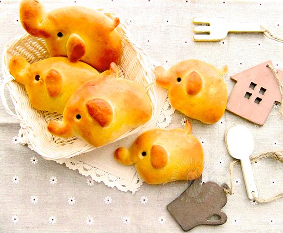 baby elephant ham & cheese bread 象宝宝火腿奶酪餐包 ♫꒰・‿・๑꒱