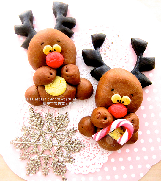 baby reindeer chocolate buns 驯鹿宝宝巧克力面包