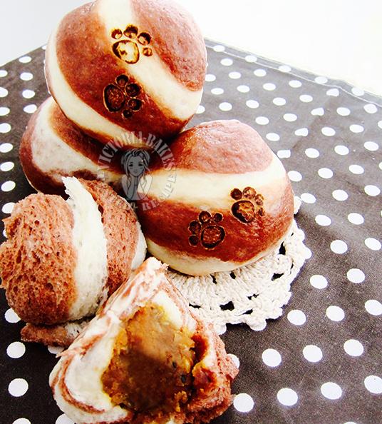 five nuts lotus paste swirl steamed bun 五仁莲蓉螺旋条纹包